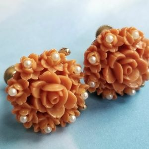 Vintage rose earrings orange faux pearls screwback